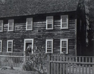 Black and white photo of a house
